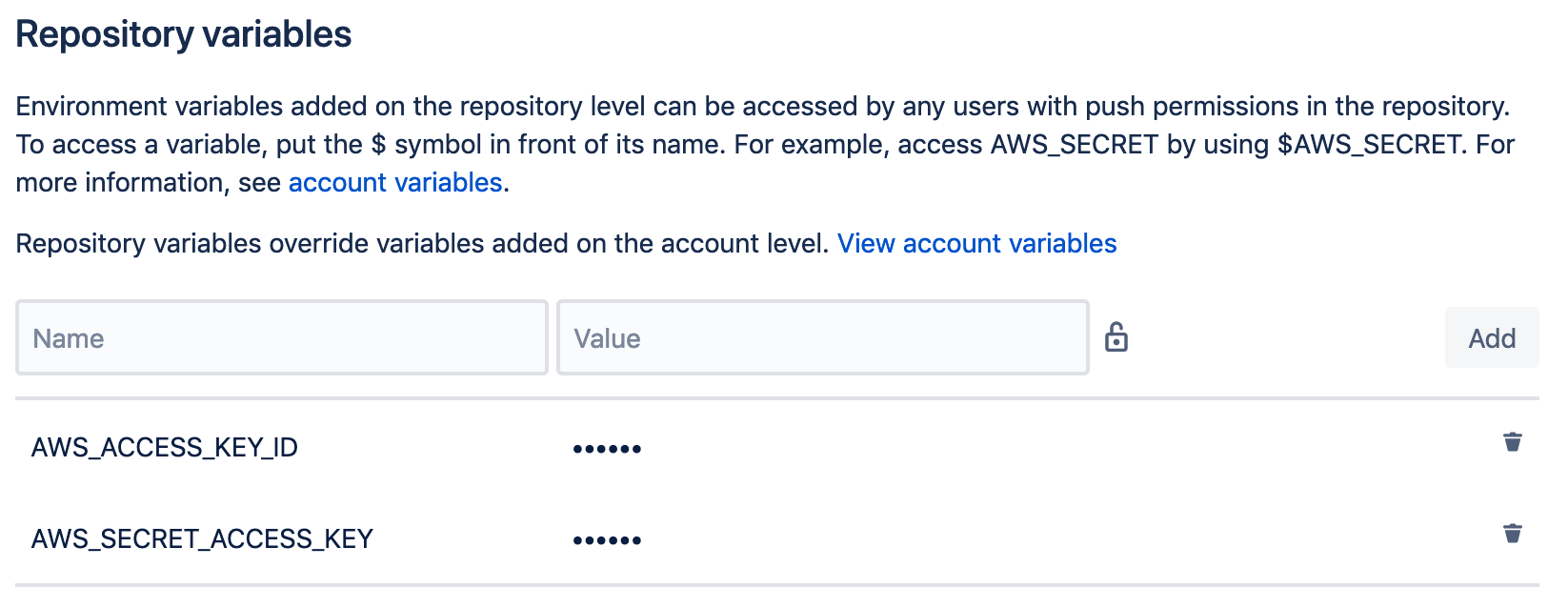 Bitbucket Pipelines repository variables masked and encrypted.